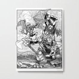 Lone Wolf Battle Metal Print
