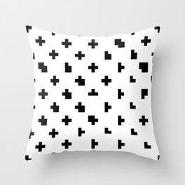 White Criss Cross Glitch Throw Pillow