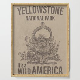 It's a Wild America – Yeti Doing Yoga Poster Serving Tray