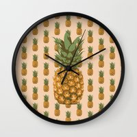 pineapples Wall Clocks featuring Pineapples by Brocoli ArtPrint