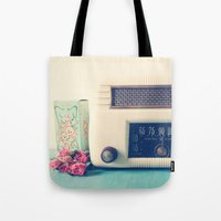 radio Tote Bags featuring Retro Radio by Olivia Joy StClaire