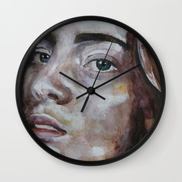 art work, watercolor portrait, beautiful face model with green eyes, original Wall Clock