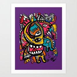 Aztec Magic Creatures Graffiti Street Art by Emmanuel Signorino Art Print