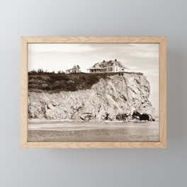 Big House on the Cliff panoramic Framed Mini Art Print