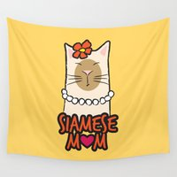 mom Wall Tapestries featuring Siamese Mom by Lisa Marie Robinson