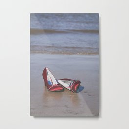 Red High-Heeled Shoes Metal Print