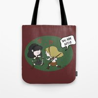 xena Tote Bags featuring Heroic BFFs!! by Deborah Picher Illustrations