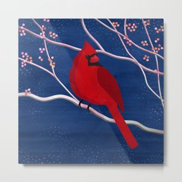 Cardinal on Blue Metal Print