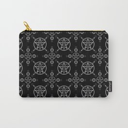 Baphomet Pentagram Pattern - White/Black Carry-All Pouch