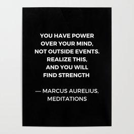 Stoic Wisdom Quotes - Marcus Aurelius Meditations - Find Strength Poster