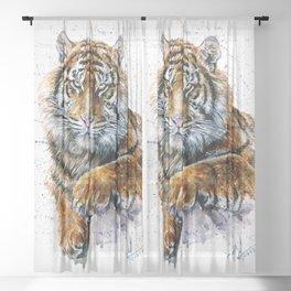 Tiger watercolor Sheer Curtain