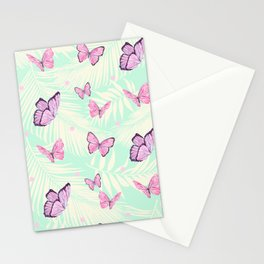 Watercolor pink butterflies Stationery Cards