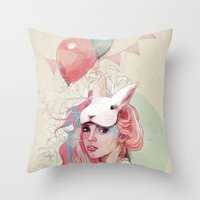 ariana grande Throw Pillows featuring Sweet Party by Ariana Perez