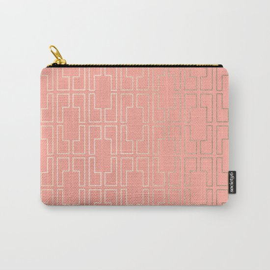 Simply Mid-Century in White Gold Sands on Salmon Pink Carry-All Pouch
