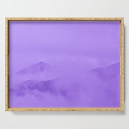 Lilac Fog Surrounding Anchorage Mountains Serving Tray