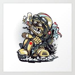 Smoke Skull Driver Moped - Texas cigar Art Print