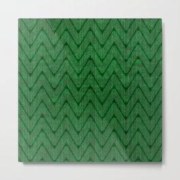 Faux Suede Kelly Green Chevron Pattern Metal Print