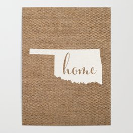 Oklahoma is Home - White on Burlap Poster