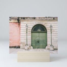 Old wooden green doors in Italy | Wanderlust travel photography art Mini Art Print