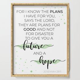 Jeremiah 29:11 Calligraphy Print Serving Tray