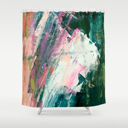 Meditate [2]: a vibrant, colorful abstract piece in bright green, teal, pink, orange, and white Shower Curtain