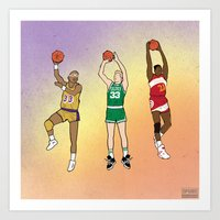 lakers Art Prints featuring 80's Ballers by Steven Paris
