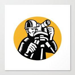 Surveyor Geodetic Engineer Woodcut Canvas Print