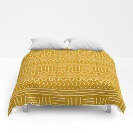 Mud Cloth on Mustard Comforters