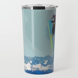 Man on skis, sky jumping, with mountains and blue sky on the backgound Travel Mug