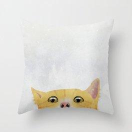Curious Orange Cat Throw Pillow
