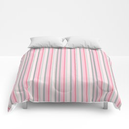 Classic Pink and Gray Stripes Comforters