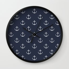 Yacht style. Anchor. Navy blue. Wall Clock