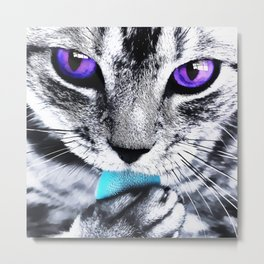 Purple eyes Cat Metal Print