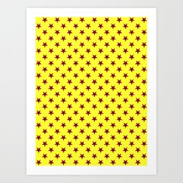 Burgundy Red on Electric Yellow Stars Art Print