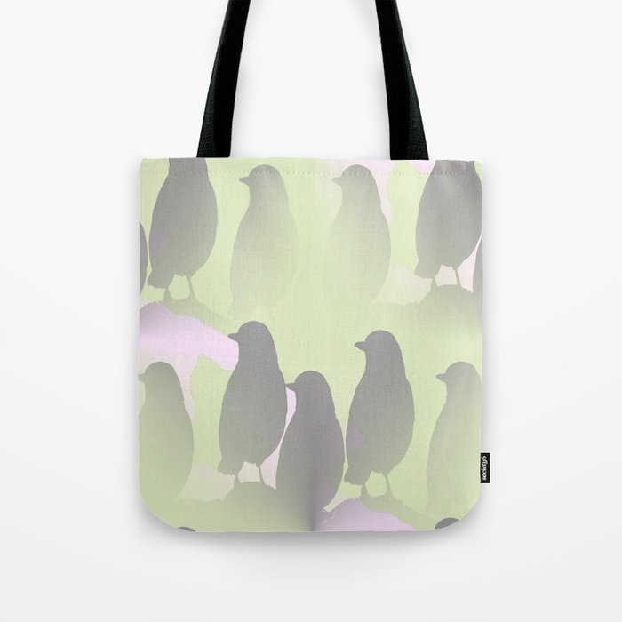 Spring mood - singing birds on a green pink background Tote Bag