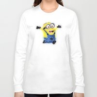 minion Long Sleeve T-shirts featuring Minion by KitschyPopShop
