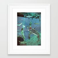 sharks Framed Art Prints featuring Sharks by Ben Giles