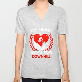 My Heart Beats For Downhill Unisex V-Neck