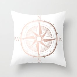 Rose Gold Compass Throw Pillow