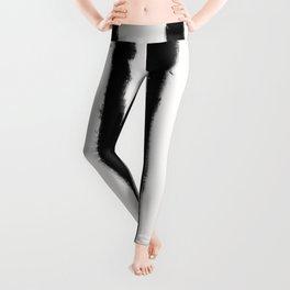 Medium Brush Strokes Vertical Black on Off White Leggings