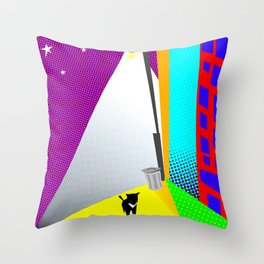 Street Cat Pop Throw Pillow