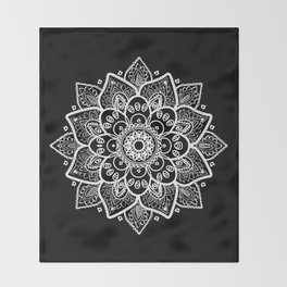 White Mandala On Black Throw Blanket