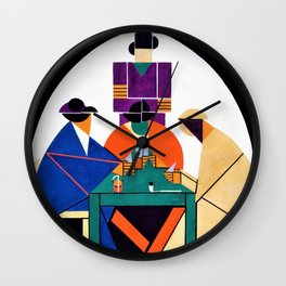 Theo van Doesburg - The Cardplayers - Digital Remastered Edition Wall Clock