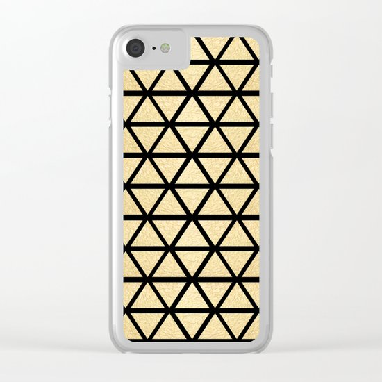 Black and Gold Geometric Pattern 3 Clear iPhone Case