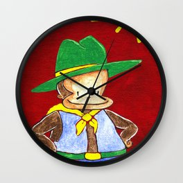 Green Hat Cowboy Ape on Red Wall Clock