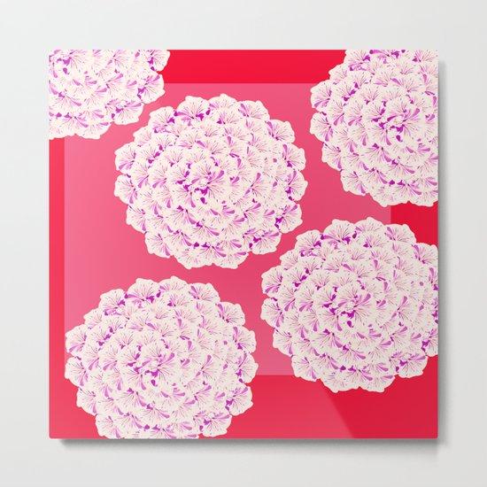 Large Flower Balls On Red Background - #Society6 #buyart Metal Print
