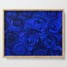 China Blue Rose Abstract Serving Tray