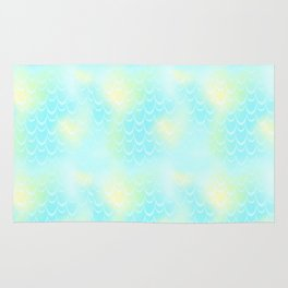 Mint Blue and Yellow Mermaid Tail Abstraction. Magic Fish Scale Pattern Rug