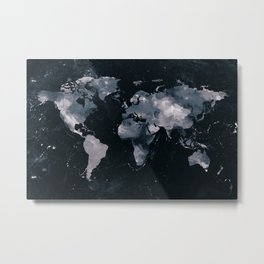 Dark Navy Marble World Map Metal Print