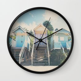beach huts photograph Wall Clock